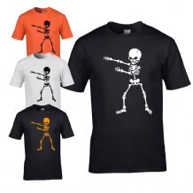 Flossing Skeleton Mens T-shirt - Halloween Scary Mens Costume Fancy Dress Top
